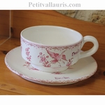 DEJEUNER (TASSE ET SOUS TASSE)DECOR TRADITION MOUSTIERS ROSE