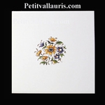 DECOR FLEURS CENTRALE 2859 POLYCHROME SUR CARREAU 15x15