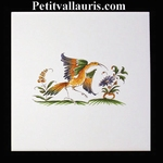 DECOR OISEAU DE PARADIS 2214 POLYCHROME SUR CARREAU 15x15