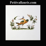 DECOR OISEAU DE PARADIS 2215 POLYCHROME SUR CARREAU 15x15