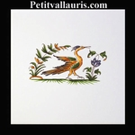 DECOR OISEAU DE PARADIS 2216 POLYCHROME SUR CARREAU 15x15