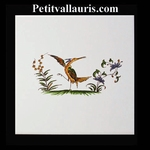 DECOR OISEAU DE PARADIS 2218 POLYCHROME SUR CARREAU 15x15