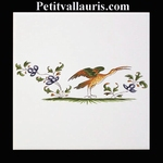 DECOR OISEAU DE PARADIS 2217 POLYCHROME SUR CARREAU 15x15