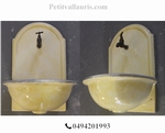 FAIENCE WALL FOUNTAIN HAND WASHING YELLOW LIGHT COLOR