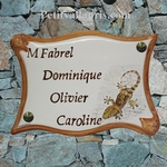 PLAQUE DE MAISON EN FAIENCE PARCHEMIN DECOR TARENTE