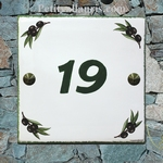 HOUSE PLAQUE TILE MODEL WITH BLACK OLIVES BRANCH PAINTING