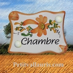 PARCHMENT DOOR PLAQUE ORANGE  FLOWERS INSCRIPTION