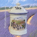 SPICES AND CONDIMENTS CERAMIC POT WITH PROVENCE DECOR