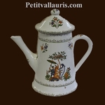 FAIENCE COFFEE POT GRAND MOTHER MODEL OLD MOUSTIERS DECOR