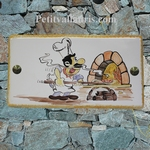 CERAMIC HOUSE PLAQUE FAIENCE WITH PIZZAIOLO PAINTING 14X28