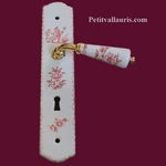 PORCELAINE HANDLE & DOOR PLAQUE WITH LOCK OLD PINK DECOR