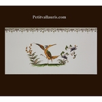 DECOR OISEAU POLYCHROME 2118 + FRISE SUR CARREAU 10 X20