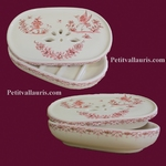 PORTE SAVON AVEC RECUPERATEUR DECOR TRADITION MOUSTIERS ROSE