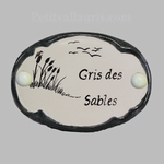 OVAL DOOR PLAQUE REEDS CAMARGUE PANTING WITH GREY BORDER