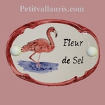 OVAL DOOR PLAQUE WITH PINK FLAMINGO CAMARGUE PANTING