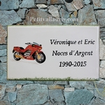 CERAMIC HOUSE PLAQUE FAIENCE WITH MOTORCYCLE DECORATION