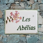 HOUSE ADDRESS PLAQUE MODEL ABELIAS FLOWERS DECOR PAINT