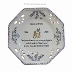 ASSIETTE MARIAGE OCTO PM DECOR MOUSTIERS BL NOCES D'OR