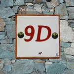 NUMBER ADRESS PLAQUE BORDER AND TEXT ORANGE HORIZONTAL MODEL