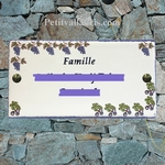HOUSE PLAQUE RECTANGLE MODEL FIGUE AND GRAPE PAINTING