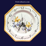 FAIENCE OCTAGONAL WALL CLOCK BLUE AND YELLOW FLOWERS