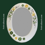 OVAL MIRROR GREEN AND YELLOW FLOWER DECOR+ RELIEF MARGUERITE