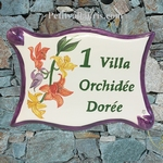 PLAQUE DE MAISON EN FAIENCE PARCHEMIN DECOR ORCHIDEES