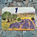STYLE HOUSE PLAQUE MODEL LAVENDER FIELD AND VILLAGE PAINT