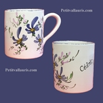 MUG WITH CUSTOMIZED NAME BLUE FLOWERS COLOR