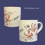 MUG WITH CUSTOMIZED NAME PINK FLOWERS COLOR