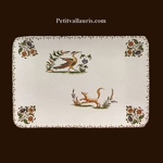 PETIT PLAT RECTANGLE DECOR TRADITION VIEUX MOUSTIERS