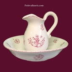 BOWL AND PICHER FOR WASHING MOUSTIERS PINK TRADITION DECOR