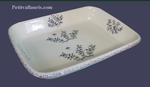 FAIENCE GRATIN DISH BLUE FLOWERS DECORATION