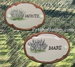 CERAMIC OVAL DOOR PLAQUE WITH LAVANDER AND TAN BORDER