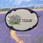 CERAMIC OVAL DOOR PLAQUE WITH LAVANDER AND BLUE BORDER