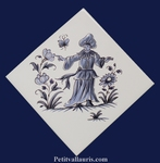 DECOR DIAGONALE TRADITION VIEUX MOUSTIERS BLEU REF 5194