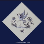 DECOR DIAGONALE TRADITION VIEUX MOUSTIERS BLEU REF 5204