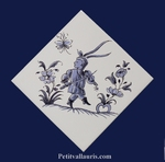 DECOR DIAGONALE TRADITION VIEUX MOUSTIERS BLEU REF 5195