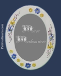 OVAL MIRROR BLUE AND YELLOW FLOWER DECOR+ RELIEF MARGUERITE