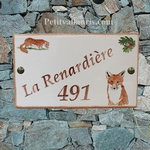 PLAQUE DE MAISON CERAMIQUE RECTANGLE DECOR RENARD ET BELETTE
