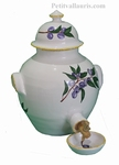CERAMIC VINEGAR OLD WHITE COLOR WITH BLUE OLIVES DECOR