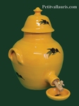 CERAMIC VINEGAR OLD JAUNE COLOR WITH BLACK OLIVES DECOR