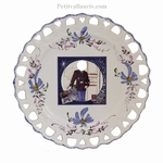 BLUE DECOR BIRTHDAY PLATE SUNFLOWER MODEL WITH FOTO INSIDE