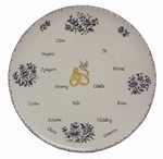 CUSTOMIZED MARRIAGE MEMORY BIG PLATE MODEL BLUE DECOR