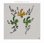 TILE DECORATION GREEN AND YELLOW FLOWERS 20 X 20 CM