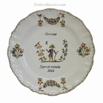 CUSTOMIZED PLATE TRADITION OLD MOUSTIERS WITH INSCRIPTION