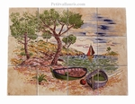 FRESQUE MURALE FAIENCE DECOR PAYSAGE CALANQUES BEIGE-OCRE