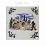 CARREAU 15X15 MOTIF CHAPELLE+LAVANDES+ POSE HORIZONTAL