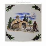 CARREAU 15X15 MOTIF CHAPELLE+OLIVES NOIRES+ POSE HORIZONTAL