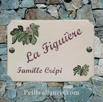 ADDRESS HOME PLAQUE WITH FIG AND FIG TREE DECOR